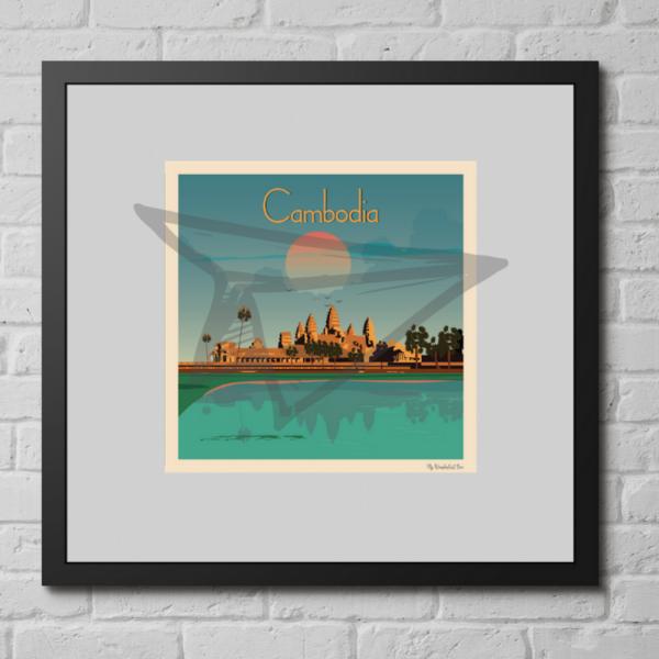 Affiche vintage Cambodge