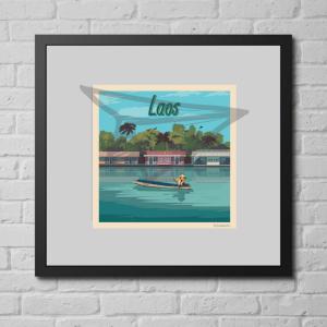 Affiche vintage du Laos