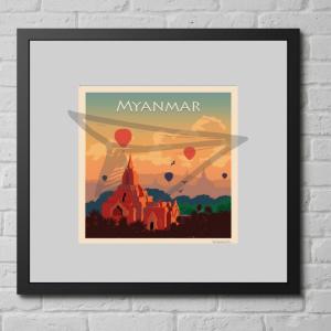 Affiche vintage Myanmar